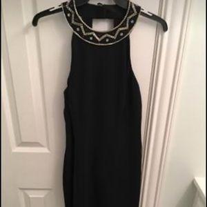 Designer Tribal Sequin Black Dress Size 8- Vintage